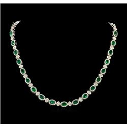 12.67 ctw Emerald and Diamond Necklace - 18KT White Gold