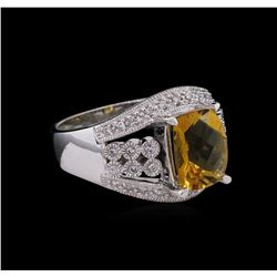 2.85 ctw Citrine and Diamond Ring - 14KT White Gold