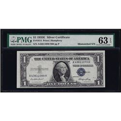 1935E $1 Silver Certificate Note Mismatched Serial Number ERROR PMG Choice Unc.