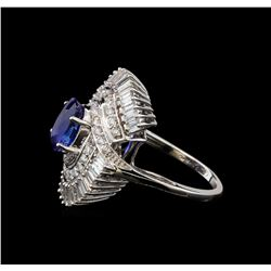 GIA Cert 3.03 ctw Sapphire and Diamond Ring - 14KT White Gold