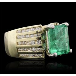 10KT Two-Tone Gold 4.31 ctw Emerald and Diamond Ring