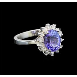 14KT White Gold 2.27 ctw Tanzanite and Diamond Ring