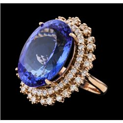 22.99 ctw Tanzanite and Diamond Ring - 14KT Rose Gold