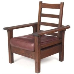 Early L & JG Stickley Morris chair, #770
