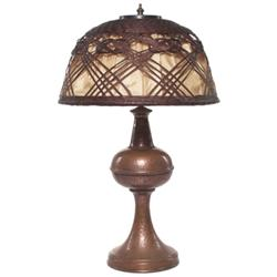Arts & Crafts lamp, hammered copper