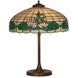 Arts & Crafts table lamp, leaded