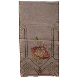 Arts & Crafts runner, brown linen