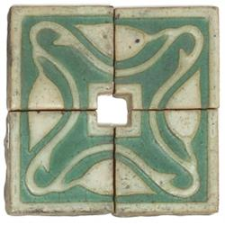 Grueby tile group, four pieces