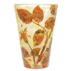 Daum vase cameo and enameled branches
