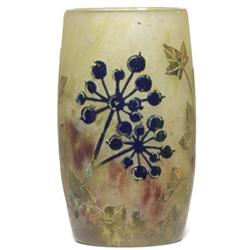 Daum vase cameo design leaves and berries