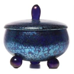Loetz covered vessel, footed form in cobalt
