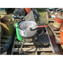 PROPANE FRYER, SPRAYER CAN, ORNAMENTAL ROCK