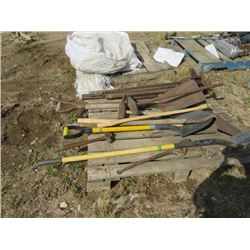 PALLET OF SHOVELS, SLEDGE & AXE HANDLES & 2 JACK ALLS
