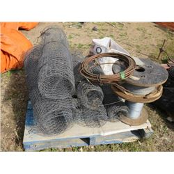 PALLET OF CHICKEN WIRE 2 ROLLS THIN CABLE WIRE, COPPER & WELDING RODS