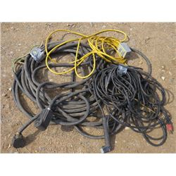 LOT OF 220 VOLT EXT CORD AND WELDING CABLE, 110 EXT CORD
