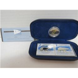 2000 $2 COIN & 2 STAMPS, POLAR BEAR