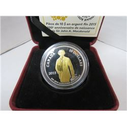 2015 $10 FINE SILVER COIN 200TH ANNIVERSARY OF THE BIRTH OF SIR JOHN A MACDONALD
