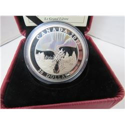 2013 $20 FINE SILVER COIN NORTHERN LIGHTS, THE GREAT HARE