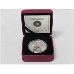 2011 $15 FINE SILVER COIN, MAPLE LEAF OF HAPPINESS