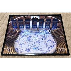 EDMONTON OILERS AUTOGRAPHED FRAMED PHOTO INCLUDES 28 SIGNATURES FROM RYAN SMYTH, GRANT FUHR, JARI KU