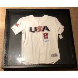 RARE DEREK JETER AUTOGRAPHED FRAMED 2006 WORLD BASEBALL CLASSIC JERSEY WITH COA