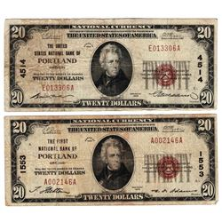 Lot (2) 1929 $20 Portland OR National Currency Notes
