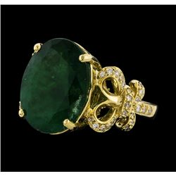 8.71 ctw Emerald and Diamond Ring - 14KT Yellow Gold