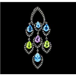 4.00 ctw Multi-Color Gemstone and Diamond Pendant - 18KT White Gold with Black A
