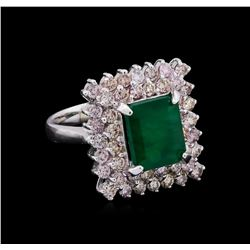 14KT White Gold 3.34 ctw Emerald and Diamond Ring