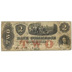 1861 $2 Bank of Commerce, Savannah, GA Obsolete Bank Note