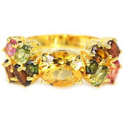 NATURAL CITRINE & TOURMALINE Ring