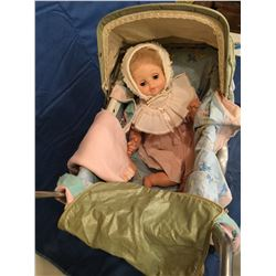 Full Size Pram with 1974 Eugene Doll and Blankets