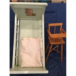 Wood Doll/tot bed with doll high chair