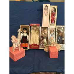 Lot of 9 Collectible Porcelain Dolls