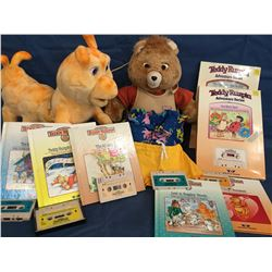 1980's Teddy Ruxpin & Grubby Interactive with Boxed Books and Tapes