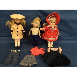 3 Vogue Ginny Dolls with extra clothing