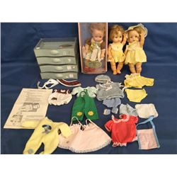 1964 Ideal Tearie Dearie in Orig Box/Cradle with Drawer's marked Tearie Dearie, extra clothes and 2
