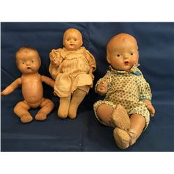 3 Composition  Dolls Effanbee and unknown Good Cond
