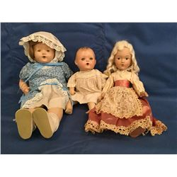 """18"""" toddler of Compo and cloth, 14""""  6 piece compo, 1930's 12"""" composition"""