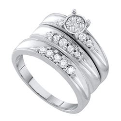 0.40 CTW His & Hers Diamond Cluster Matching Bridal Ring 10KT White Gold - REF-52N4F