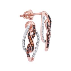 0.15 CTW Red Color Diamond Infinity Screwback Earrings 10KT Rose Gold - REF-19M4H