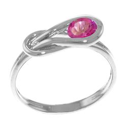Genuine 0.65 ctw Pink Topaz Ring Jewelry 14KT White Gold - REF-47M2T