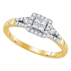 0.33 CTW Princess Diamond Square Cluster Ring 14KT Yellow Gold - REF-40N4F