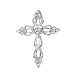 0.15 CTW Diamond Heart Cross Pendant 10KT White Gold - REF-12Y2X