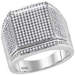 0.95 CTW Mens Diamond Edged Square Cluster Ring 10KT White Gold - REF-67X4Y