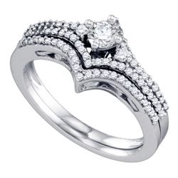 0.50 CTW Diamond Chevron Bridal Wedding Engagement Ring 14KT White Gold - REF-71H9M