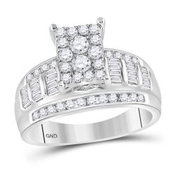 0.92 CTW Diamond Rectangle Cluster Bridal Engagement Ring 10KT White Gold - REF-67N4F