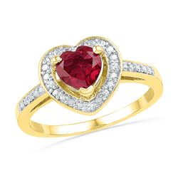 1.03 CTW Created Ruby Heart Love Ring 10KT Yellow Gold - REF-18N2F