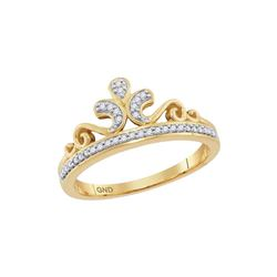 0.10 CTW Diamond Crown Tiara Ring 10KT Yellow Gold - REF-18X2Y