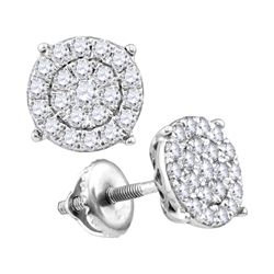 0.25 CTW Diamond Cluster Earrings 10KT White Gold - REF-18F7N